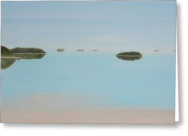 Greeting Card featuring the painting Mystical Islands by Tim Mullaney