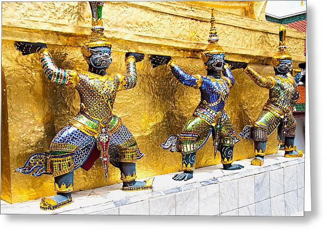 Mythical Figures In Bangkok Greeting Card by David Smith