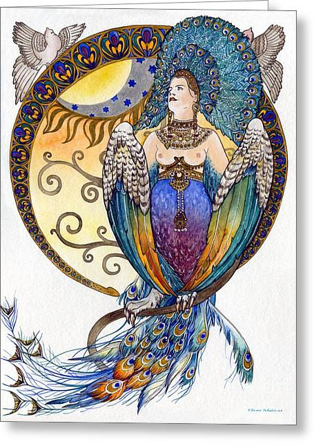 Mythological Bird-woman Gamayun - Elena Yakubovich Greeting Card by Elena Yakubovich