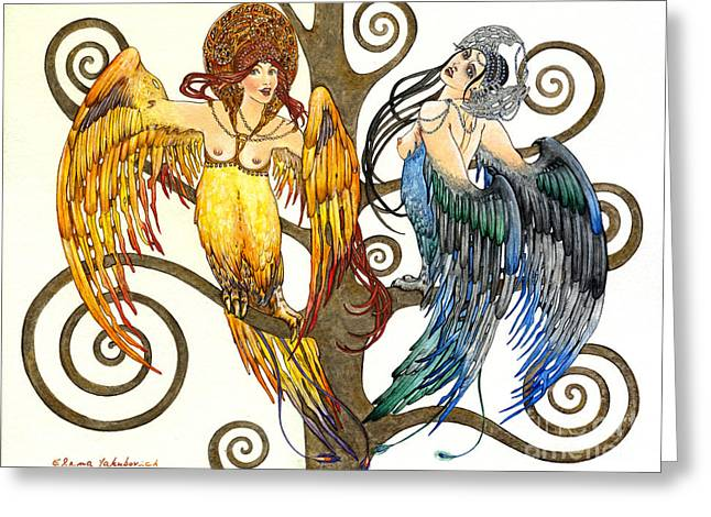 Mythological Birds-women Alconost And Sirin- Elena Yakubovich  Greeting Card by Elena Yakubovich