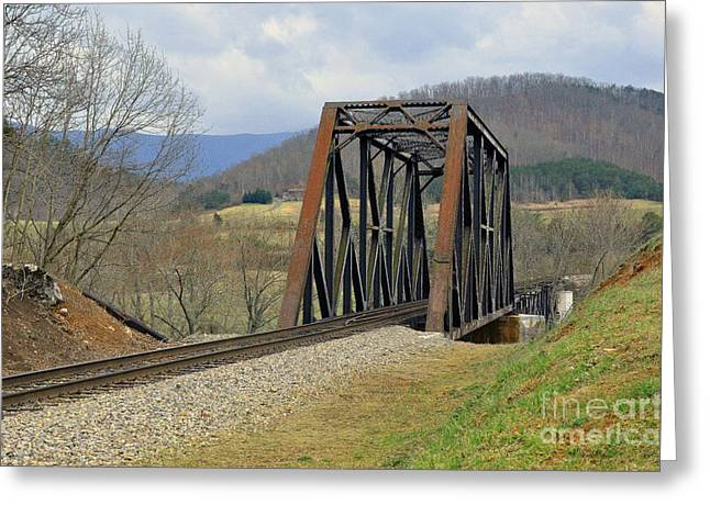 N W Railroad Trestle Greeting Card by Brenda Dorman