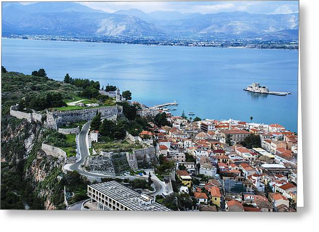 Nafplio And Argolic Gulf Greeting Card by David Waldo