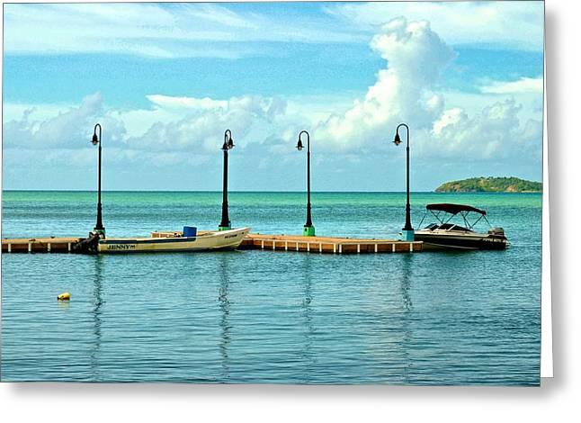 Naguabo Boat Pier Greeting Card by Ricardo J Ruiz de Porras