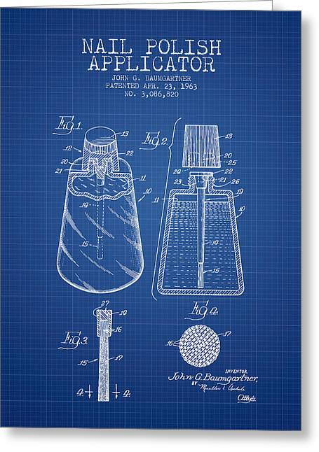 Nail Polish Applicator Patent From 1963 - Blueprint Greeting Card by Aged Pixel