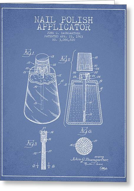 Nail Polish Applicator Patent From 1963 - Light Blue Greeting Card by Aged Pixel