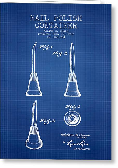 Nail Polish Container Patent From 1952 - Blueprint Greeting Card by Aged Pixel