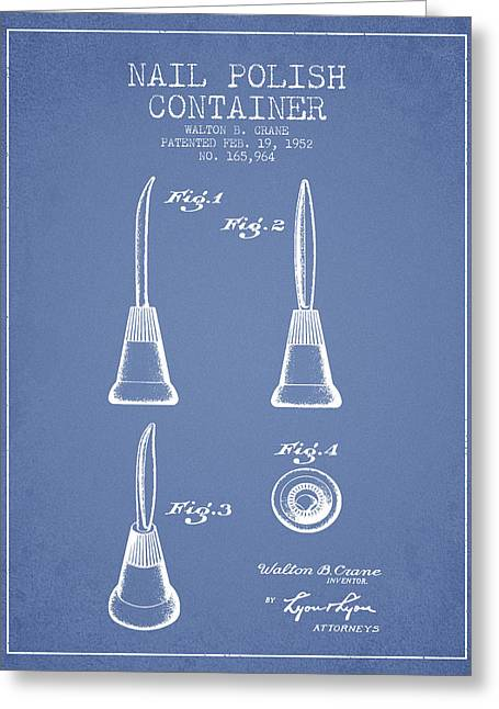 Nail Polish Container Patent From 1952 - Light Blue Greeting Card by Aged Pixel