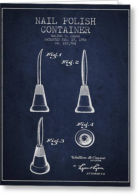 Nail Polish Container Patent From 1952 -navy Blue Greeting Card