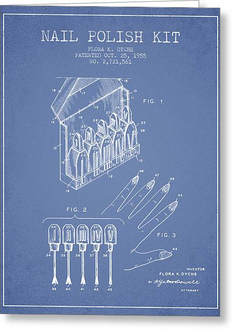 Nail Polish Kit Patent From 1955 - Light Blue Greeting Card by Aged Pixel