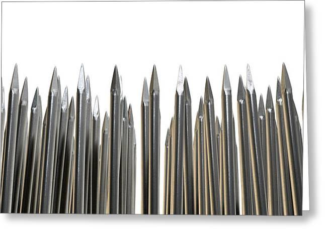 Nails Array Abstract Macro Greeting Card by Allan Swart