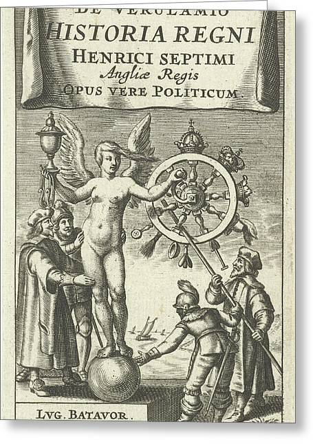 Naked Fortuna Globe Rotates The Wheel Of Fortune Greeting Card by Cornelis Van Dalen I And Franciscus Hackius
