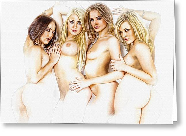 Naked In Style Greeting Card by Don Kuing