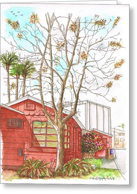 Naked Tree And Brown House In Cahuenga Blvd., Hollywood, California Greeting Card by Carlos G Groppa