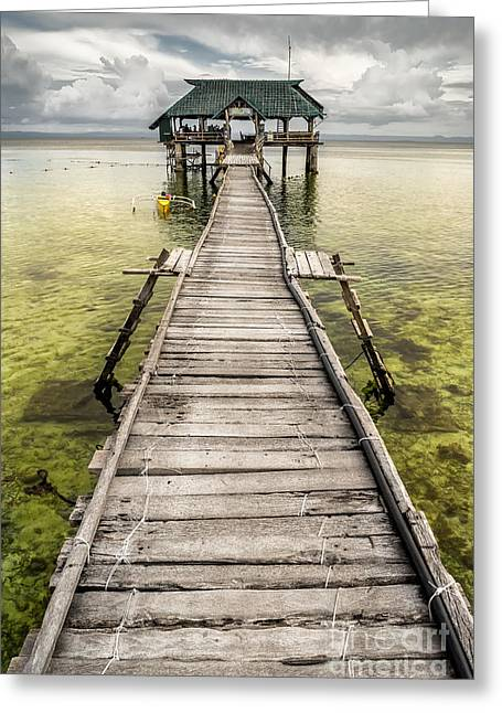 Nalusuan Island Pier Greeting Card by Adrian Evans