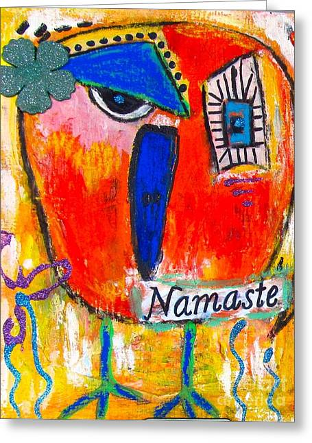 Namaste Birdie Acknowledges The Soul In You  Greeting Card by Corina  Stupu Thomas