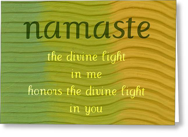 Namaste Greeting Card by Michelle Calkins