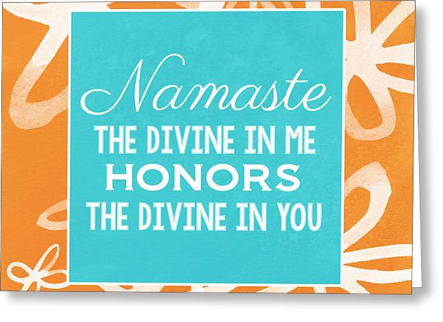 Namaste Watercolor Flowers Greeting Card by Linda Woods