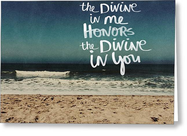 Namaste Waves  Greeting Card by Linda Woods