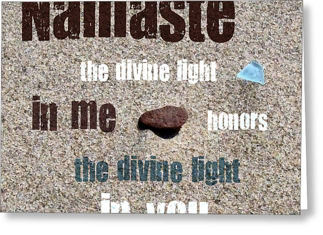 Namaste With Beach Glass And Pebble Greeting Card by Michelle Calkins
