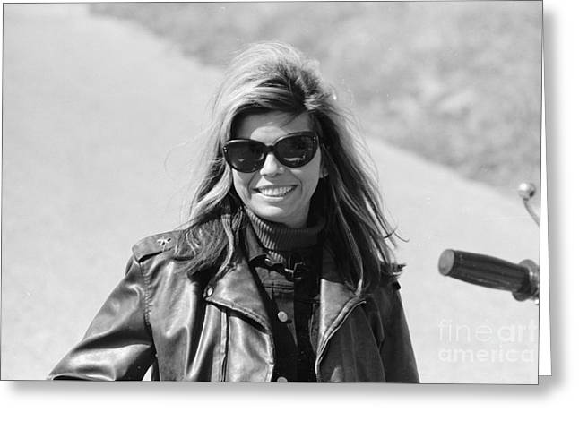 Nancy Sinatra On The Set Of The Wild Angels Greeting Card