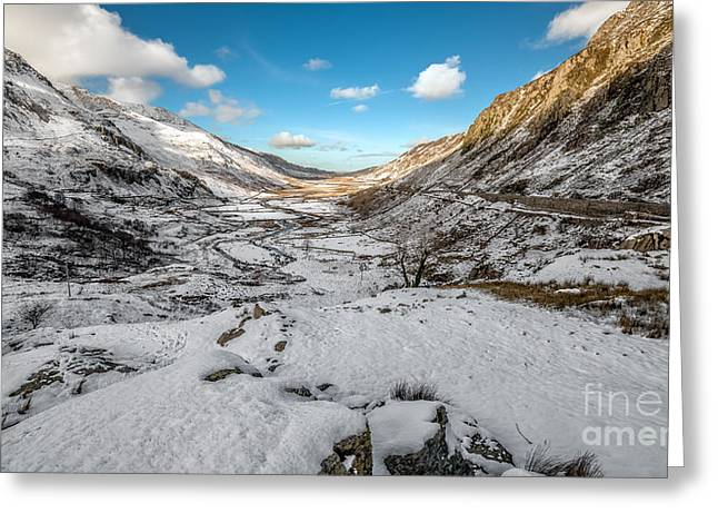 Nant Ffrancon Greeting Card by Adrian Evans