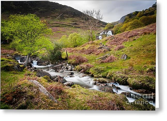 Nant Gwynant Waterfalls II Greeting Card
