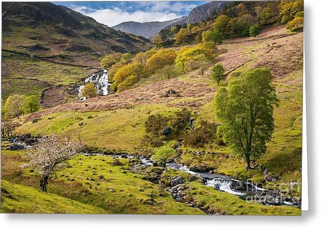 Nant Gwynant Waterfalls Greeting Card