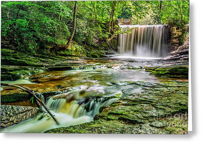 Nant Mill Waterfall Greeting Card by Adrian Evans