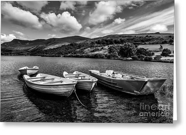 Greeting Card featuring the photograph Nantlle Uchaf Boats by Adrian Evans
