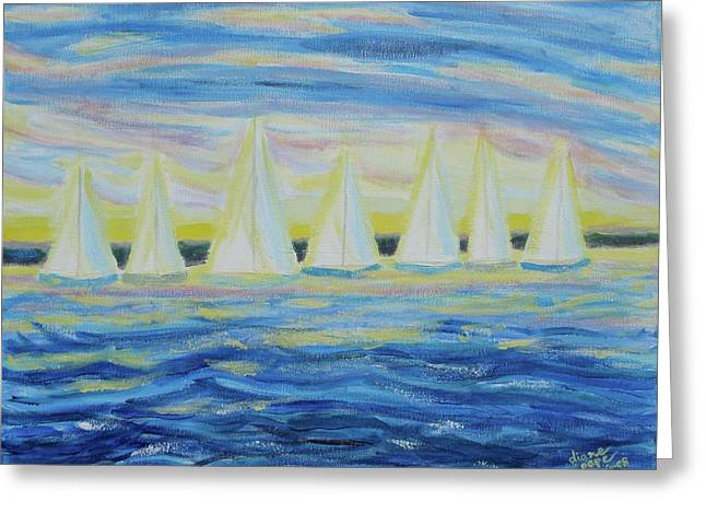 Greeting Card featuring the painting Nantucket Sunrise by Diane Pape