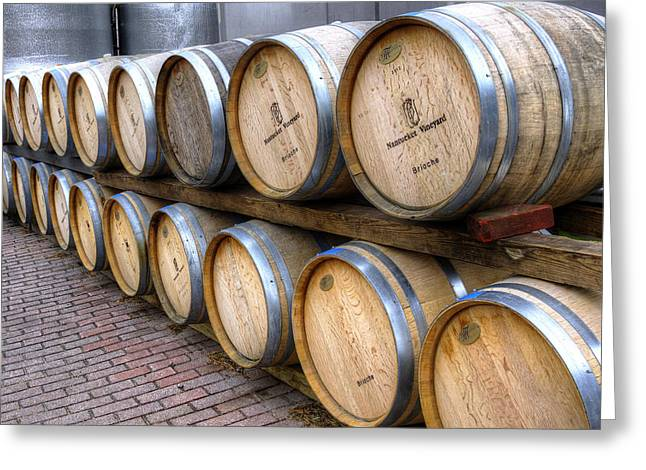 Nantucket Vineyard Wine Barrels Greeting Card by Donna Doherty