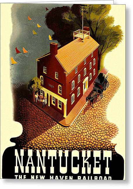 Nantucket Vintage Vacation Poster Greeting Card by Movie Poster Prints