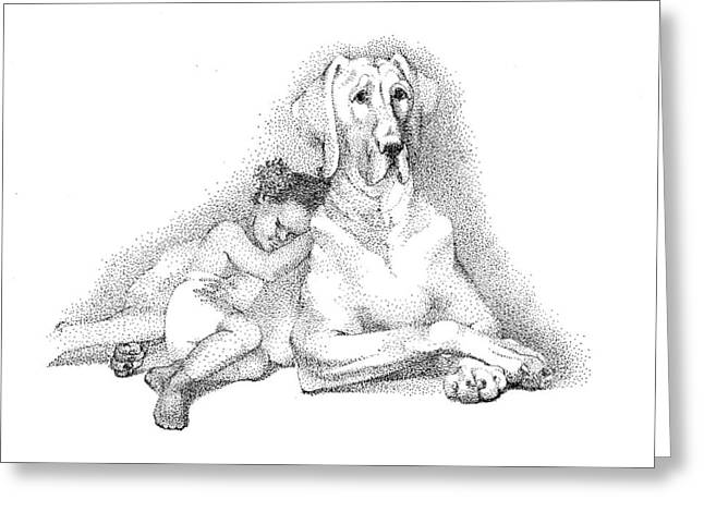 Nap Time. Dog And A Girl. Stippling. Greeting Card