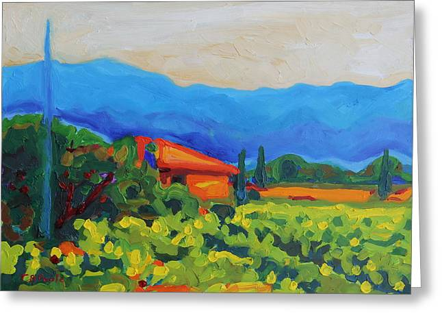 Napa Art Napa Vineyard With House And Hills Oil Painting Bertram Poole Greeting Card