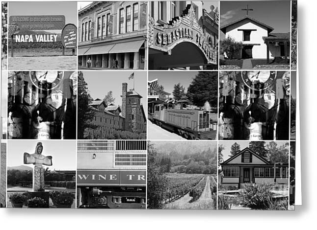 Napa Sonoma County Wine Country 20140906 Black And White Greeting Card