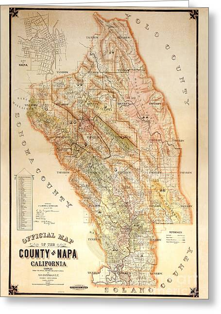 Napa Valley Map 1895 Greeting Card