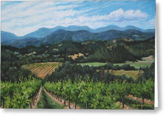 Greeting Card featuring the painting Napa Valley Vineyard by Penny Birch-Williams
