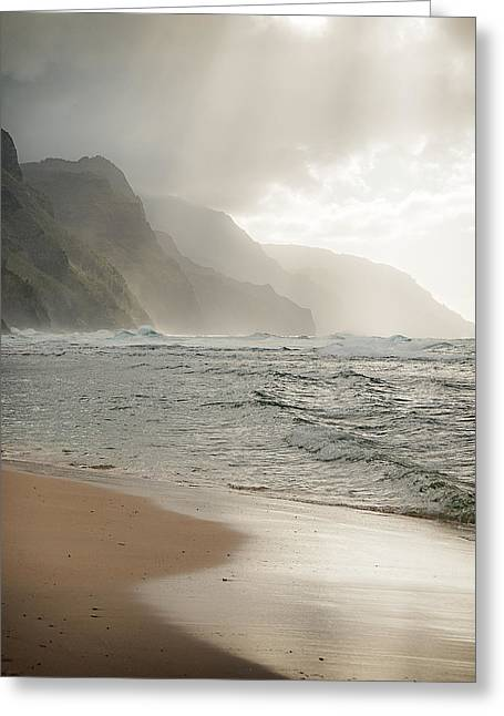 Napali Sun Greeting Card by Jen Morrison
