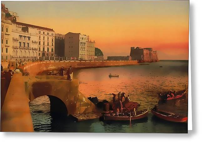 Greeting Card featuring the painting Naples Italy 1920 by Douglas MooreZart