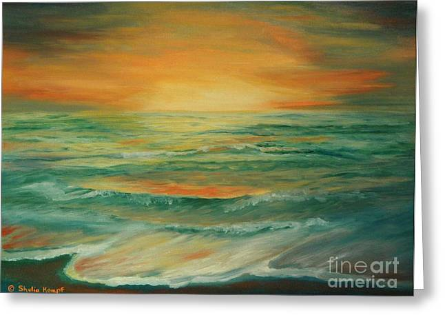 Greeting Card featuring the painting Naples Mystical Sunset by Shelia Kempf