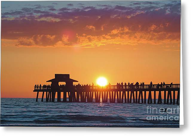 Naples Pier Dippin' Greeting Card by Alicia Mick