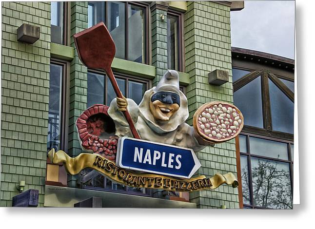 Naples Pizzeria Signage Downtown Disneyland Greeting Card by Thomas Woolworth