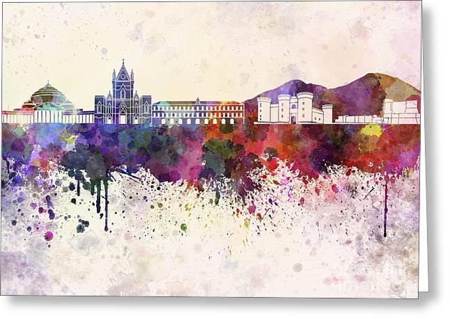 Naples Skyline In Watercolor Background Greeting Card