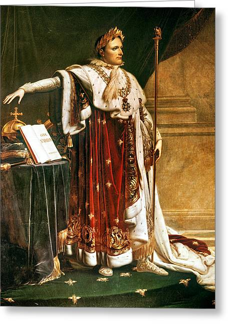 Napoleon Bonaparte In Coronation Robes Greeting Card by Granger