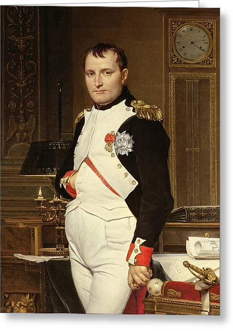 Napoleon Bonaparte In His Study Greeting Card by Jacques Louis David