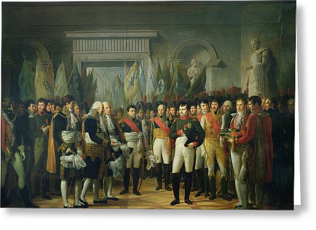 Napoleon I 1769-1821 Receiving The Deputies Of The Conservative Senate At The Royal Palace Greeting Card by Rene Theodore Berthon