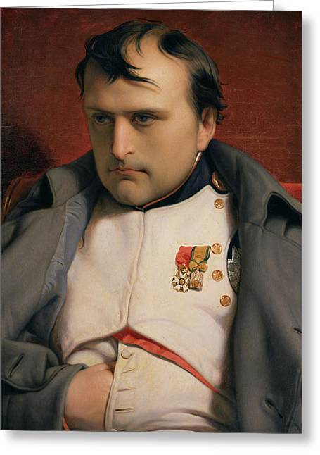 Napoleon In Fontainebleau Greeting Card by Hippolyte Delaroche