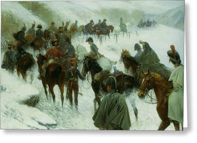 Napoleon Leading His Troops Through Guadarrama Mountains Greeting Card by Jan Von Chelminski
