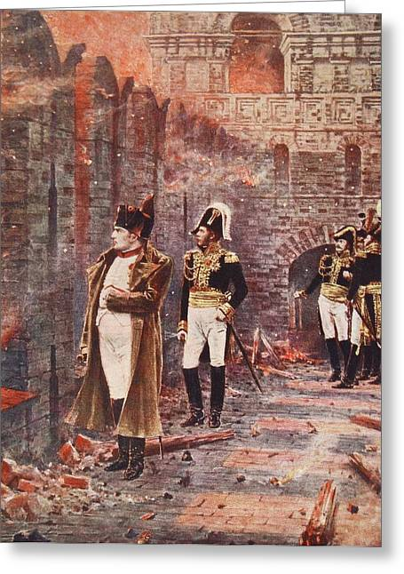 Napoleon Watching The Fire Of Moscow Greeting Card by Nikolai Stepanovich Vereshchagin