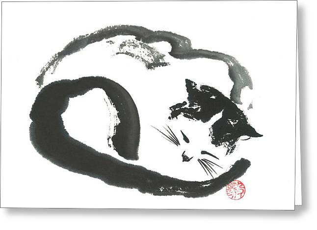 Napping Neko Greeting Card